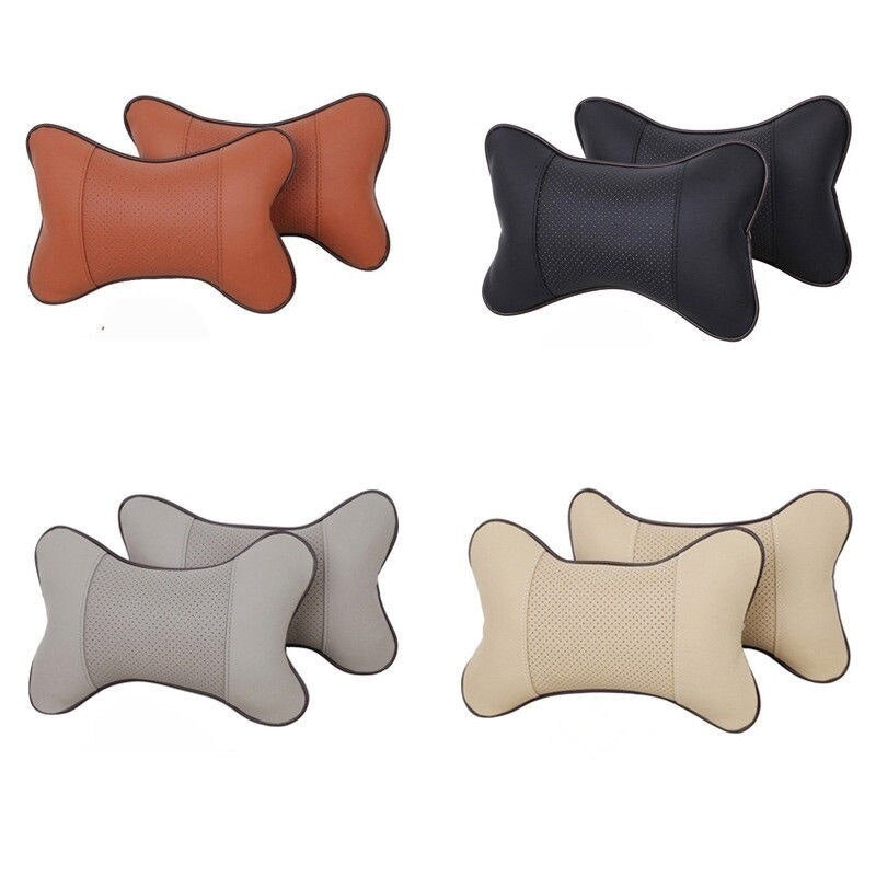Universal Car Interior Accessories  PVC Leather Breathable Mesh Auto Car Neck Rest Headrest Cushion Pillow  (1 PCS )