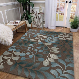 3 Sizes Non-slip Carpet Plant Leaves Branch Contours Botanical Pattern Home Rug Personality Creative Design Living-room/Bedroom Rug Home Decor Floor Mat Area Rug Kitchen Rug