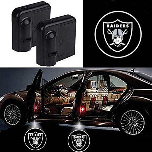 For Rugby Team Oakland Raiders Logo Car Door Led Welcome Laser Projector Car Door Courtesy Light Suitable Fit for All Brands of Cars