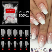 Load image into Gallery viewer, 500pcs/bag short full cover coffin false nail tips 10 size acrylic press on nails coffin nails short fake nails