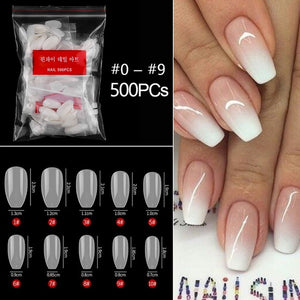 500pcs/bag short full cover coffin false nail tips 10 size acrylic press on nails coffin nails short fake nails