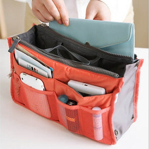 Bag women Practical Handbag Purse Nylon Dual Organizer Insert Cosmetic Storage