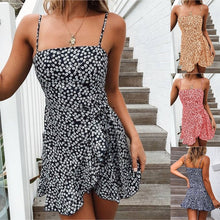 Load image into Gallery viewer, New Women Fashion Spaghetti Strap Dress Asymmetric Irregular Hem Floral Print Sleeveless Casual Cami Dresses Plus Size
