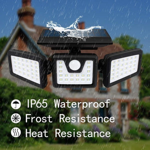 1/2PACK 70LED Solar Lights Outdoor Motion Sensor, Solar Security Lights with Three Head Spotlights Waterproof Rotatable Solar Wall Lights Outdoor for Yard Garden Garage Patio Porch