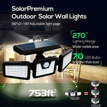 Load image into Gallery viewer, 1/2PACK 70LED Solar Lights Outdoor Motion Sensor, Solar Security Lights with Three Head Spotlights Waterproof Rotatable Solar Wall Lights Outdoor for Yard Garden Garage Patio Porch