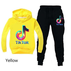 New Fashion Kids Clothes Tik Tok Printed Hoodies Pants Set Casual Hooded Sweatshirt Suits Tracksuit Suitable for Boys and Girls