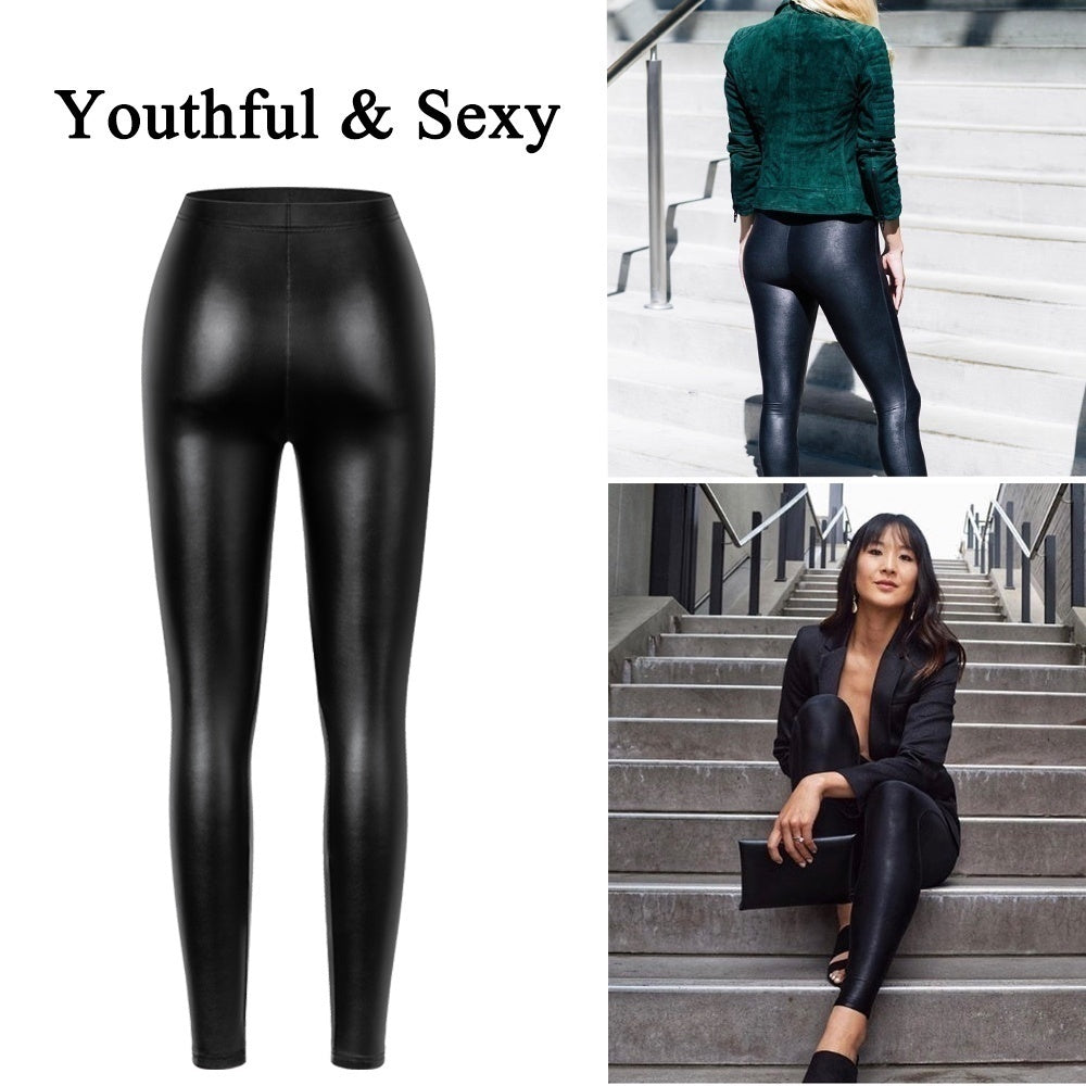 Women Fashion Leather Pants Skinny Latex Pant Vinly Leggings Tight Trousers Slim Pencil Elastic Hot-Ass PU Pants Sexy Brazilian Booty