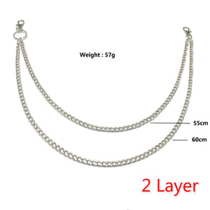1 Piece Hip-hop Trendy Belt Waist Chain Keychain Punk Waist Chain Metal Rock Clip Chain