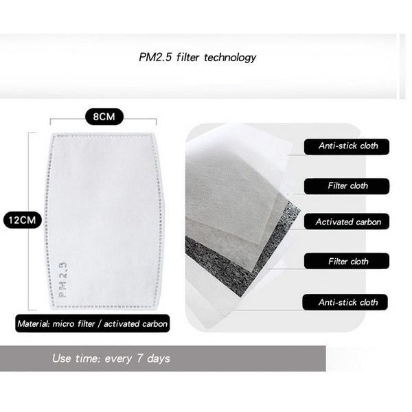 50/20/10 PCS Adult Pm2.5 N95 Activated Carbon Filter Face Mask Filters Breathing Insert Protective Mouth Mask Filter