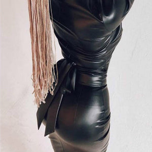 Women Sexy Leather V-Neck Dress Deep Long Sleeve Skinny Dress Night Club Sex Wear