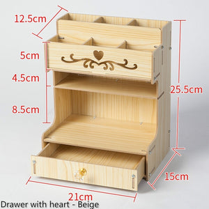 3 Types large Capacity Wooden Stationery Container Desk Storage Box Office Pencil Holder Pen Box Desktop Organizer with Drawer