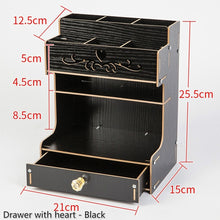 Load image into Gallery viewer, 3 Types large Capacity Wooden Stationery Container Desk Storage Box Office Pencil Holder Pen Box Desktop Organizer with Drawer