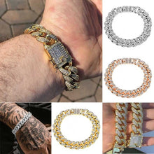 Load image into Gallery viewer, HOT Heavy Men's Iced Out Cuban Link Finish Miami Bracelet 14k Gold Filled Stainless Steel Diamonds Hip Hop Jewelry