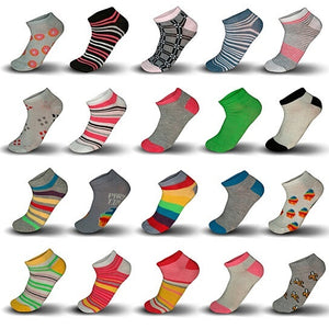 20-Pair Mystery Deal: Women s Breathable Colorful No Show Low Cut Ankle Socks