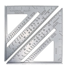 Load image into Gallery viewer, 3/7 Inch Metric Triangular Protractor, Aluminum Alloy Speed, Square Measurement Ruler For Carpenter, Design Tool