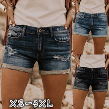 Load image into Gallery viewer, Summer Women Denim Shorts Ripped Hole Jean Shorts Vintage Short Pant for Female Dark Washed Denim Short Jeans