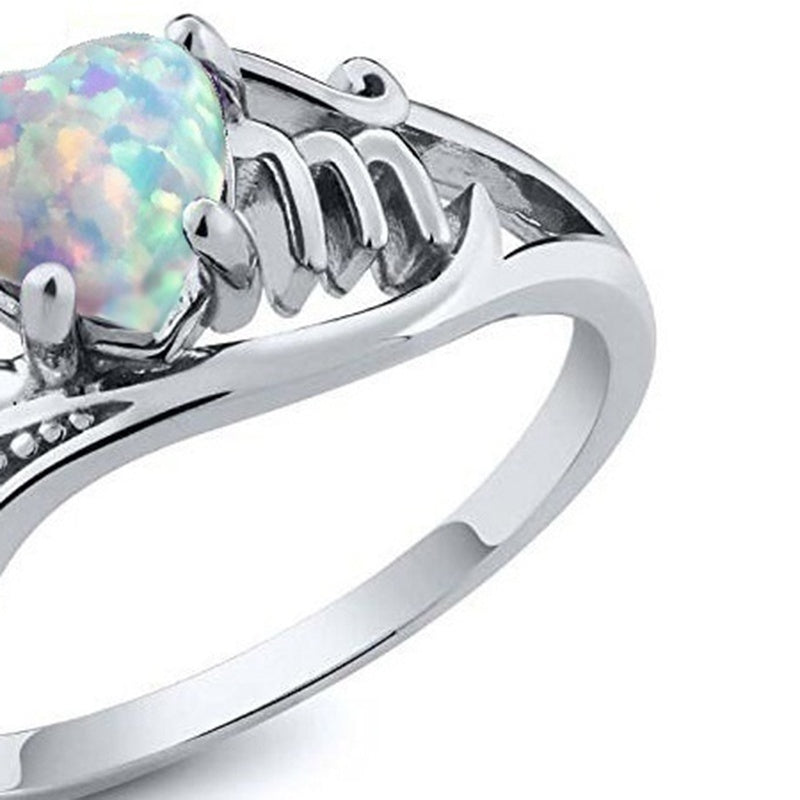 Fashion Love Mum 925 Sterling Silver Fire Opal Ring MOM Character Diamond Ring Jewelry Family Birthday Best Gift for Mother Mummy Party Wedding Band Rings Size 6-10 Gift