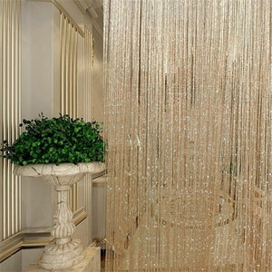 200cm(H)*100cm(W) 1PC Fly Screen Fringe Tassel Curtain String Sparkle Curtains Room Divider Door Window Decor Heart curtain / Silver String curtain