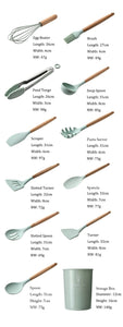 2020 New Arrival 10/12PCS Wooden Handle Silicone Kitchenware & Healthy Cookware Easy To Clean and High Temperature Resistance Spatula Soup Spoon Brush Ladle Pasta Colander Non-stick Cookware Kitchen Tools