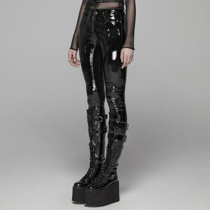 Punk Rave Black Gothic Punk Latex Slim Pants For Women