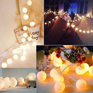 2020 New Cotton Ball Fairy 20 LEDs String Light Holiday Wedding Party Patio Christmas Decor Light 3M