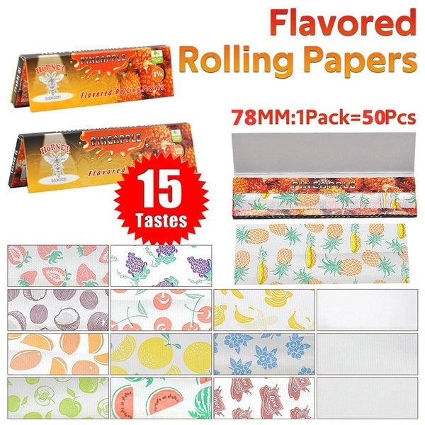 1/3Pack Hornet Cigarette Flavored Rolling Paper Natural Gum Pre Rolled Tobacco Papers 78mm