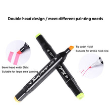 Load image into Gallery viewer, 2PC Smooth Marker Double-headed Multicolor Alcohol Oily Marker Student Design Hand-painted Pen