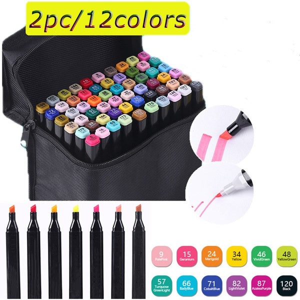 2PC Smooth Marker Double-headed Multicolor Alcohol Oily Marker Student Design Hand-painted Pen