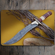Load image into Gallery viewer, Tin Sign Damascus Steel Custom Handmade Damascus Hunting Bowie Knife