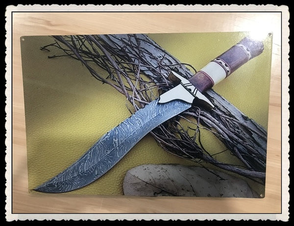 Tin Sign Damascus Steel Custom Handmade Damascus Hunting Bowie Knife