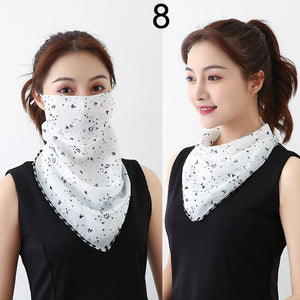 Women Summer Lightweight Face Mask Scarf Sun Protection Mask Breathable Riding Dustproof Mask Protective Silk Scarf Handkerchief