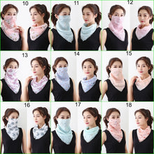 Load image into Gallery viewer, Women Summer Lightweight Face Mask Scarf Sun Protection Mask Breathable Riding Dustproof Mask Protective Silk Scarf Handkerchief