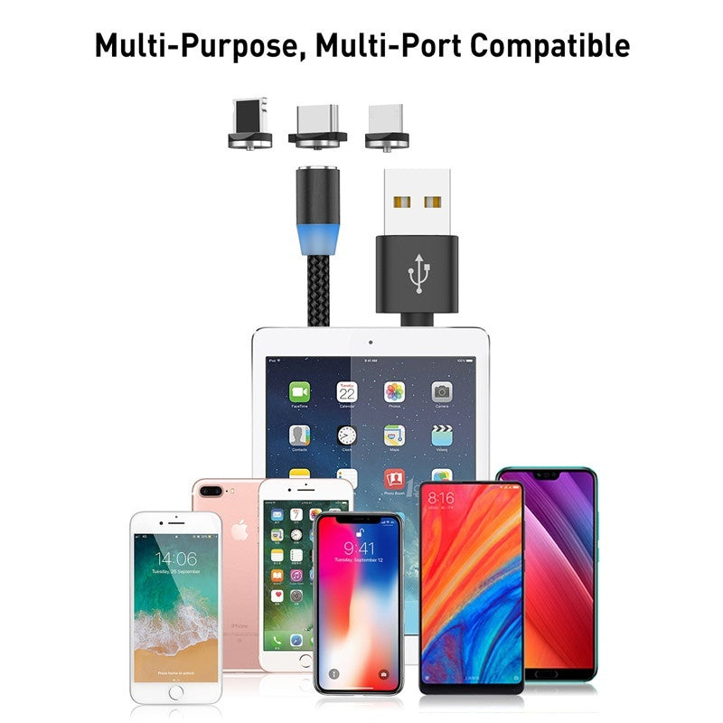 Magnetic USB Cable LED Micro Usb Type C Magnetic Usb Charging Cable iPhone 11 Pro Max iPhone XR Samsung Note 9 Note 8 Huawei and More Smart Phone Charging