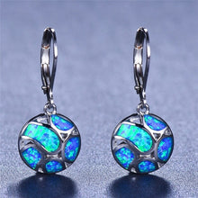 Load image into Gallery viewer, Exquisite Cute Football Earrings Blue Fire Opal Drop Earrings 925 Sterling Silver Earrings Bride Wedding Jewelry