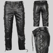 Load image into Gallery viewer, Men Lace-up Ambition Punk Rock Style Leather Pants Black Steampunk Gothic Slim Personalized Long Trousers Plus Size S~5XL