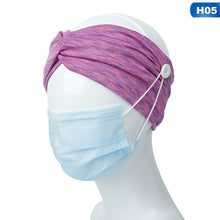 Load image into Gallery viewer, Women Man Yoga Button Headband Facemask Holder Wearing Mask Protect Ears Sports Quick Dry Sweat Headbands
