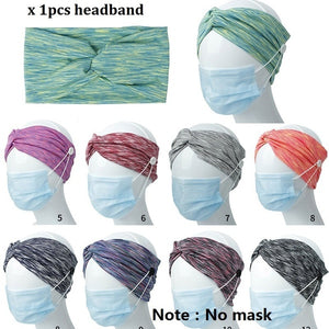 Women Man Yoga Button Headband Facemask Holder Wearing Mask Protect Ears Sports Quick Dry Sweat Headbands