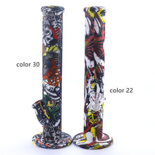 Load image into Gallery viewer, 14 Inch Straight Type Multicolored Patterns Unbreakable Silicone Smoking Water Pipe with Ice Catcher and 14MM Glass Bowl