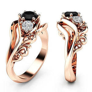1Pc Engagement Wedding Zircon Inlaid With Hollow Flower Bride Black Rhinestone 14K Rose Gold Ring Valentines Gift