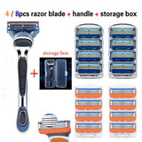 4 / 8pcs men's high-quality 5-layer razor two-color blade optional non-slip handle (send: storage box)