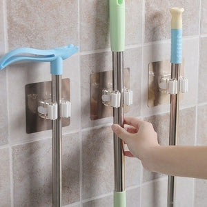 Mop Broom Holder Wall Mounted Mop Holder Household Adhesive Storage Broom Hanger Mop Hook Racks Kitchen Bathroom Organizer