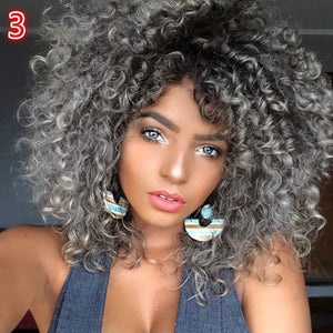 Sexy Afro Kinky Curly Wig Synthetic Hair Curly Glueless Hair Full Wig With Bangs 6 Styles