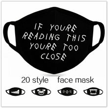 Load image into Gallery viewer, 1pc Unisex Dust-proof Cotton Face Masks Windproof Black Mask Cartoon Printed Half Face Mouth Muffle  20 style
