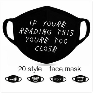 1pc Unisex Dust-proof Cotton Face Masks Windproof Black Mask Cartoon Printed Half Face Mouth Muffle  20 style