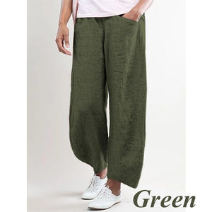 2020 Spring and Summer New Ladies Breathable Cotton Linen Straight Trousers Elastic Waist Casual Wild Solid Color Beach Pants