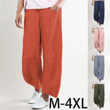 Load image into Gallery viewer, 2020 Spring and Summer New Ladies Breathable Cotton Linen Straight Trousers Elastic Waist Casual Wild Solid Color Beach Pants