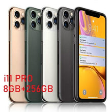 Load image into Gallery viewer, New 6.5 Inch U Screen FHD+ i11 pro Smartphone 8GB+256GB Face Unlock 4G Dual SIM Cards Support T Card Dual Rear 8MP+16MP HD Camera Bluetooth GPS Navigation Hi-fi Sound Quality Smart Phones