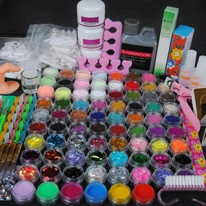 Nails Acrylic Powder 120ml 3D French Tips Rhinestone Nail Cutter Kit Manicure Set