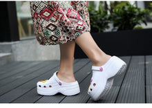 Load image into Gallery viewer, Summer Women Croc Clogs Platform Garden Sandals Cartoon Fruit Slippers Slip On For Girl Beach Shoes Fashion Slides Outdoor