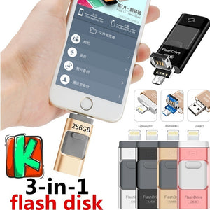 3in1 USB3.0 Usb Flash Drive for IPhone/iPad/Android/PC I-Flashdrive Pen Drive /Otg Usb Flash Stick for Apple&android &USB